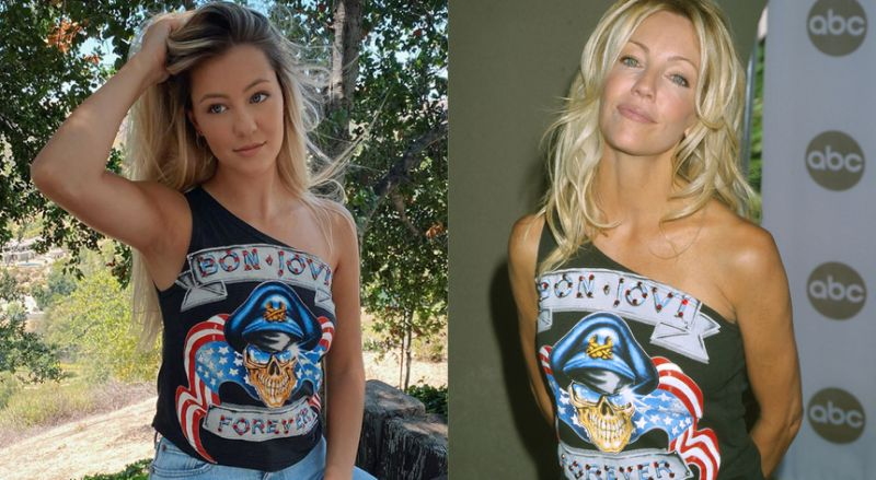 Ava Sambora looks like mother heather locklear's dual in borrowed vintage Bon Jovi concert tee